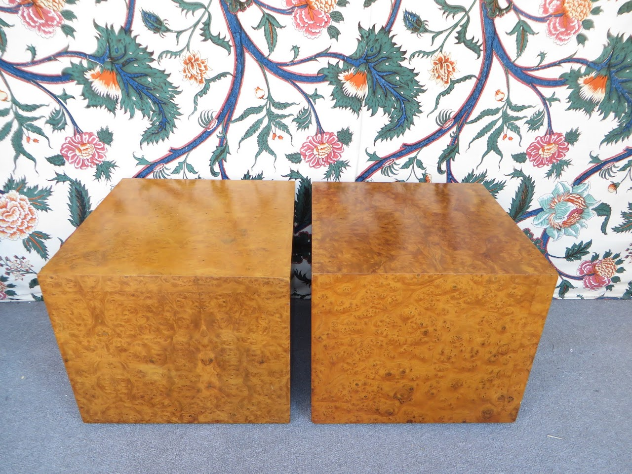 Burlwood Cube Table Pair 1