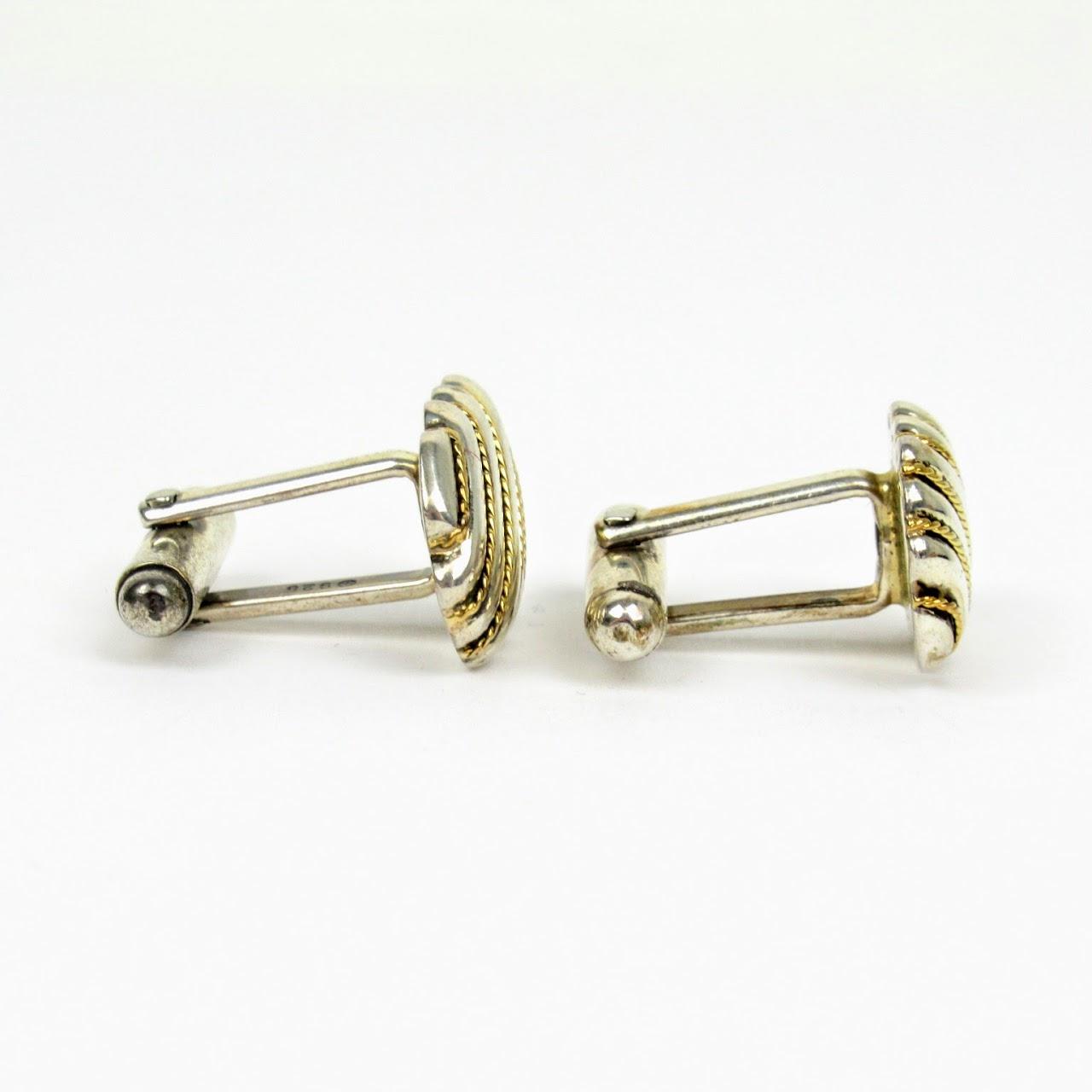 Tiffany & Co.Sterling Silver & 18K Gold Cufflinks