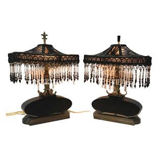 Cut Glass, Beaded Shade Table Lamp Pair