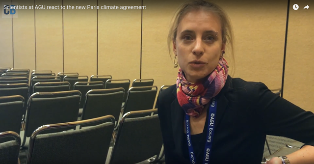Dr Friederike Otto, senior researcher on extreme weather attribution at the Environmental Change Institute at the University of Oxford, speaks on the Paris Agreement on climate change and recognising the threat to developing countries, 18 December 2015. Photo: CarbonBrief