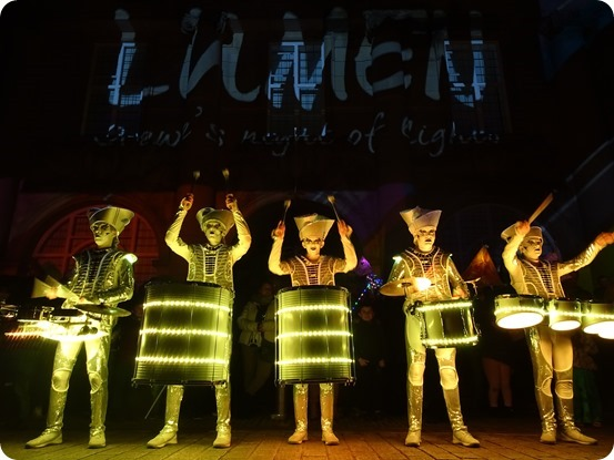 Lumen - Crewes Night of Lights decoration - Spark perform outside Municipal Building (2)