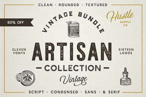 The Artisan Collection Fonts – 11 tipografías vintage script, condensed, sans y serif.