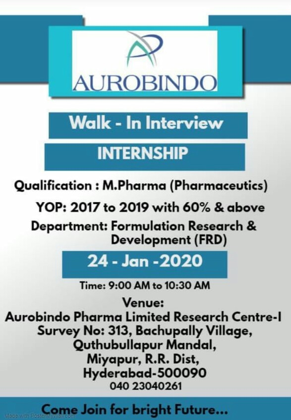 Aurobindo Pharma ltd - Walk in interview for formulation Research & Development on 24th Jan 2020