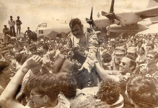 "Hostages from Air France 139 returning to Tel Aviv after the ""Raid on Entebbe"""