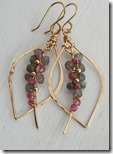 Pink quartz and labradorite tusk earrings