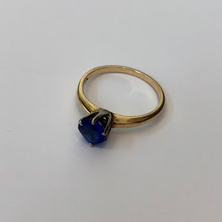 14 Kt. and Blue Stone Ring
