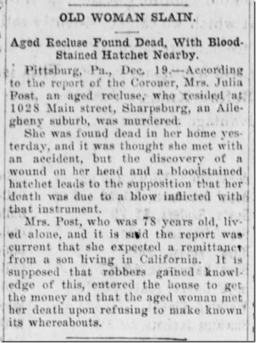Julia OReilly Slain Harrisburg Daily Independent 12_19_1906 pg 5
