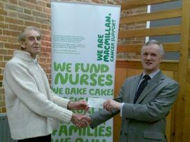 Cheque presented to MacMillan Nurses