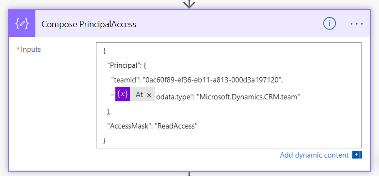 Compose step for PrincipalAccess JSON, team