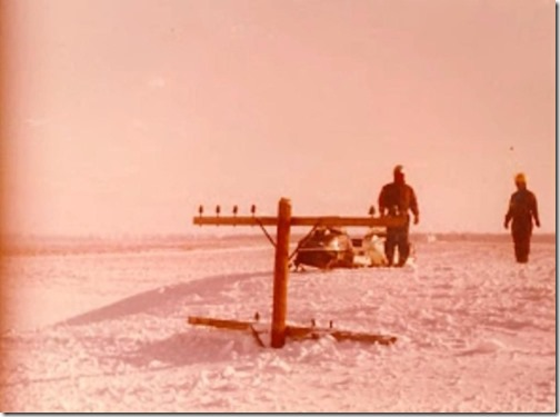 west michigan-1978-snow-storm telephone pole in drift