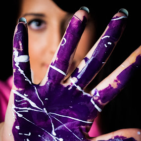 Stop! by Eliani Miranda - People Body Parts ( hand, face, purple, paint, eye )