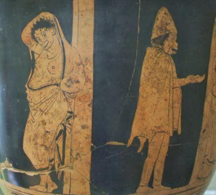 Bettler auf einer alt-griechischen Keramik im Museum von Metaponto, Basilikata, Italien