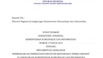 Kominfo Memberlakukan WFH selama PPKM Darurat