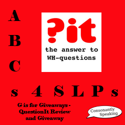 ABCs 4 SLPs: G is for Giveaways - QuestionIt Review and Giveaway image