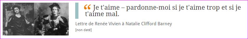 Lettre de Renée Vivien à Natalie Clifford Barney