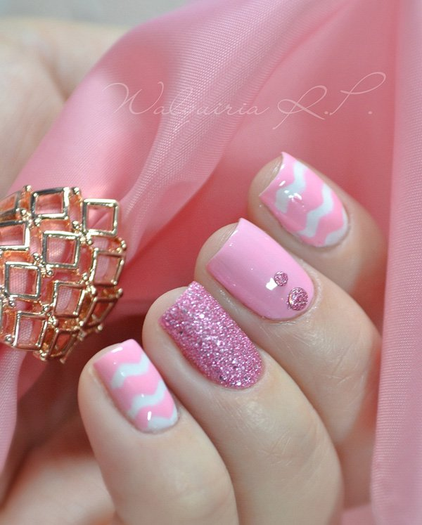 Cute pink and white acrylic nails designs - Nails C