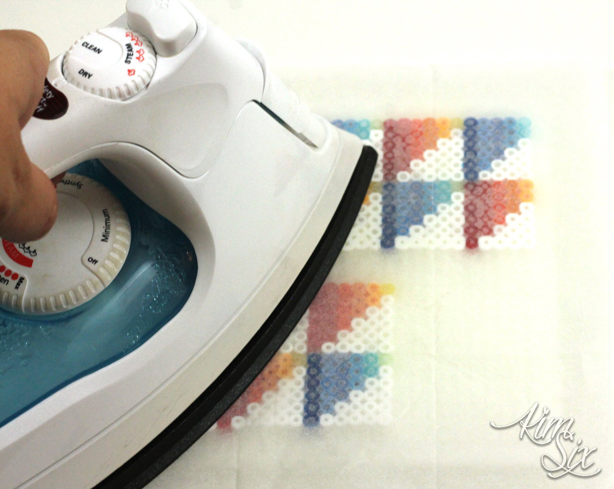 Fusing pearler beads with an iron
