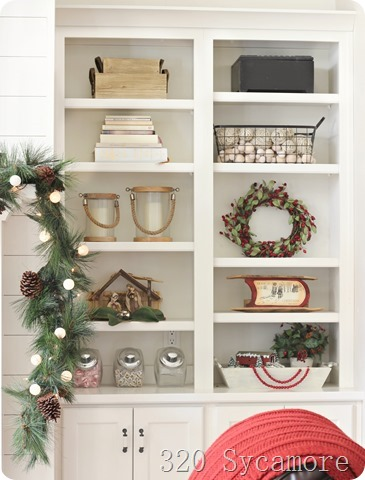 built ins decor christmas