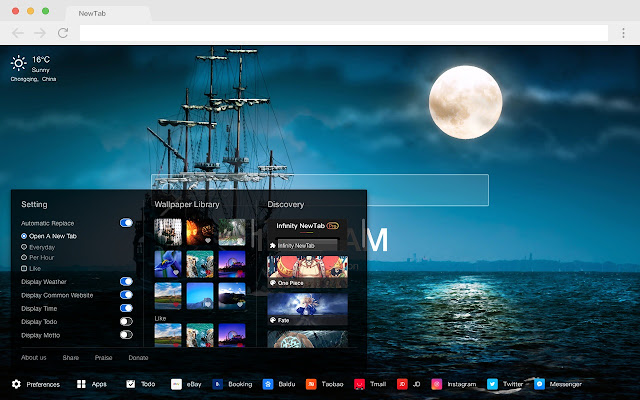 Boat New Tab HD Landscape Top Theme