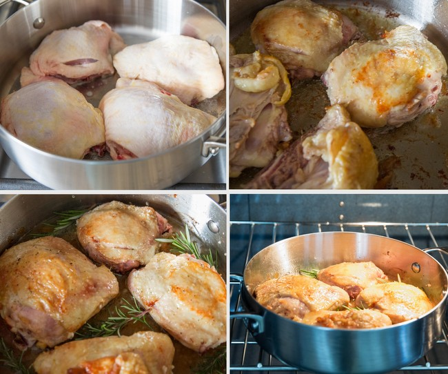 photo collage showing how to cook the chicken in the pan