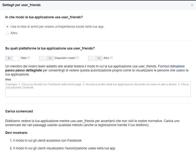 dettagli applicazione facebook