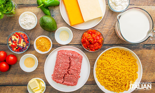 Ingredients for taco mac and cheese