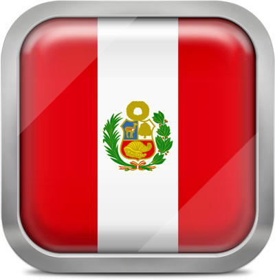 Peru square flag with metallic frame