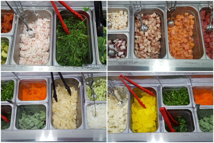 photo of all the different fish and toppings options