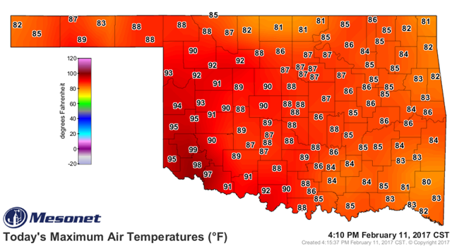 Temperature map of Oklahoma for 11 February 2017, showing record highs approaching 100º F. Graphic: Mesonet