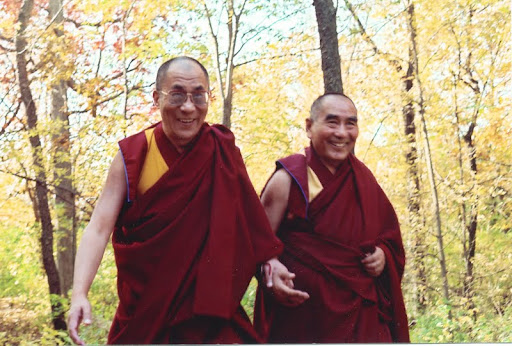 His Holiness the Dalai Lama and Geshe Sopa at Deer Park Buddhist Center, Oregon, Wisconsin, U.S., 1998. Photo by Kalleen Mortensen.