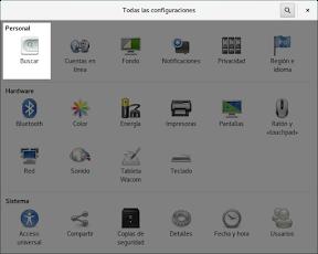 Como configurar GNOME con detalle. Configuración personal. Buscar.