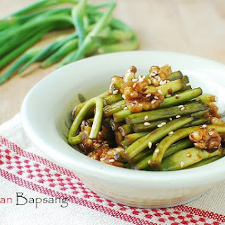 Maneuljjong Hodu Bokkeum (Stir-fried Garlic Scapes with Walnuts)