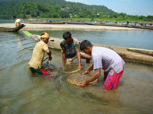 Stone collecting at jaflong