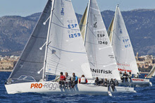 J/80 one-design sailing off Palma Mallorca in PalmaVela