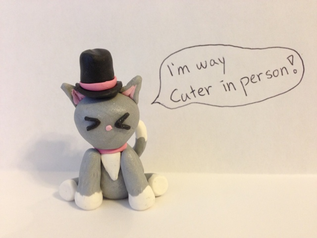 Silver Polymer Clay Cat