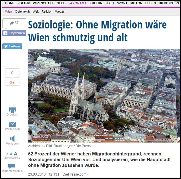 Wien wäre ohne Migration schmutzig und alt