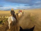 Riding to Buta Mallin at sunset