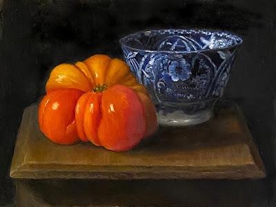 flow blue china, heirloom tomato