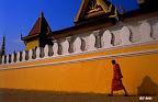 Bonze à la sortie de son monastère, au Cambodge