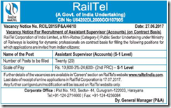 RailTel Assistant Supervisor Jobs 2017 www.indgovtjobs.in