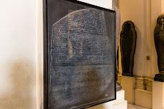 The Rosetta Stone, the key to understand hieroglyphs. Egyptian Museum Cairo.