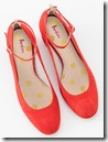 Boden Mid Heel Red Suede Ankle Strap Courts