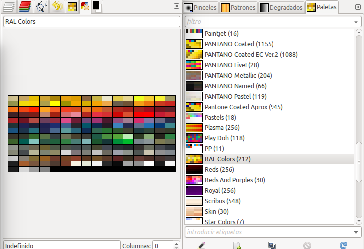 Paletas de colores para gimp inkscape y blender en ubuntu for Paleta de colores pared