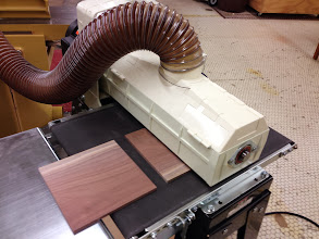 Photo: Drawer bottoms on the thickness sander.