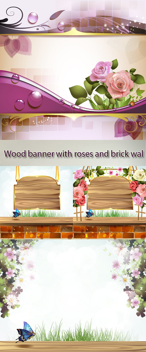 Stock: Wood banner with roses and brick wall