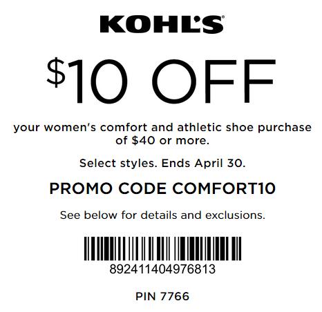 Kohl's coupon $10 Off $40 Women's comfort shoe 2016