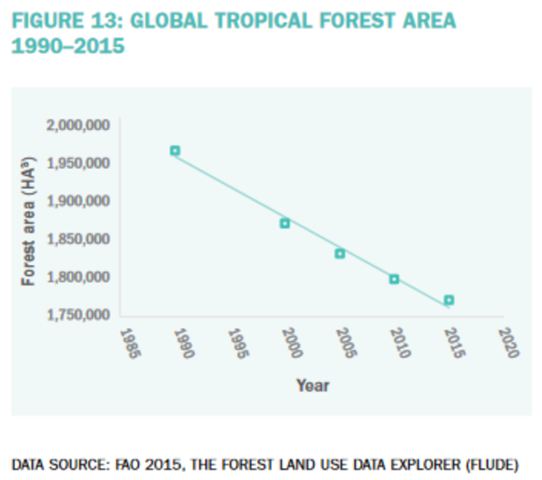 Global tropical forest area, 1990-2015. Graphic: FAO 2015 / The Forest and Land Use Data Explorer (FLUDE)