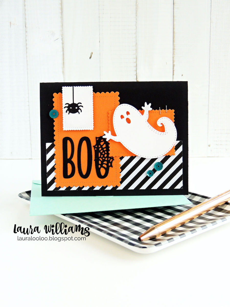 This handmade Halloween card begins with simple die-cutting and assembling. The stitched ghost and die cut BOO sentiment (which comes with that adorable spider) are quick and easy to use for Halloween cards, crafts, tags, and treat bags.