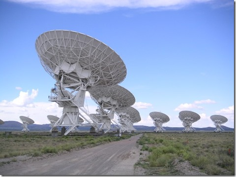 SETI's satellite array searching for radio signals in deep space