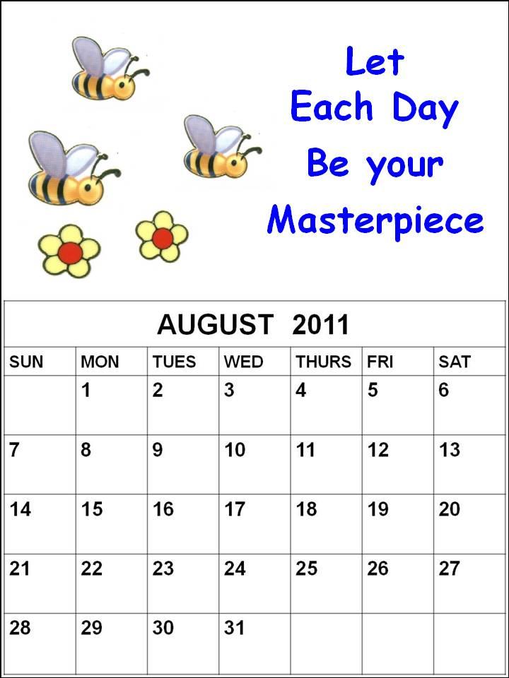 august calendar 2011 printable. Printable August 2011 Calendar